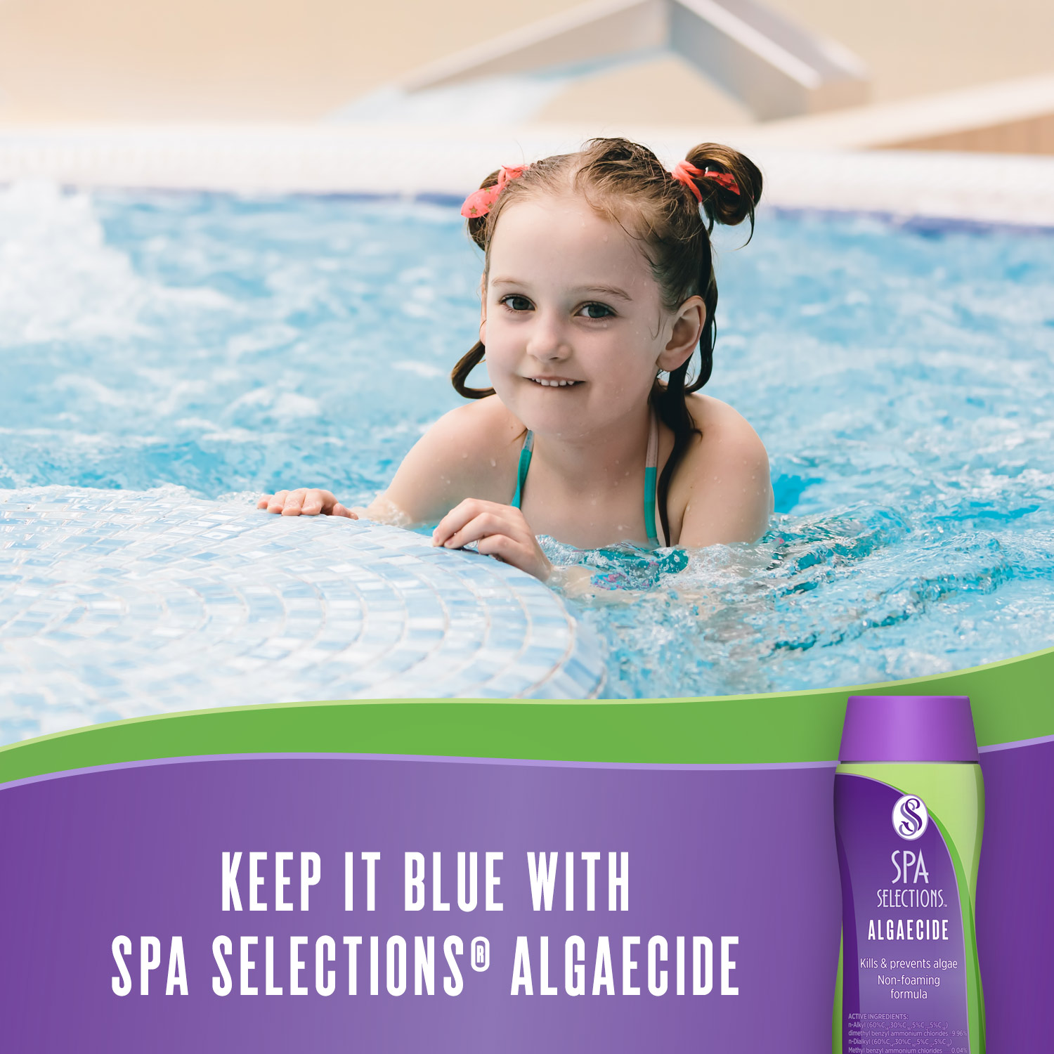 Little girl swimming in hot tub. Keep it blue with Spa Selections algaecide.