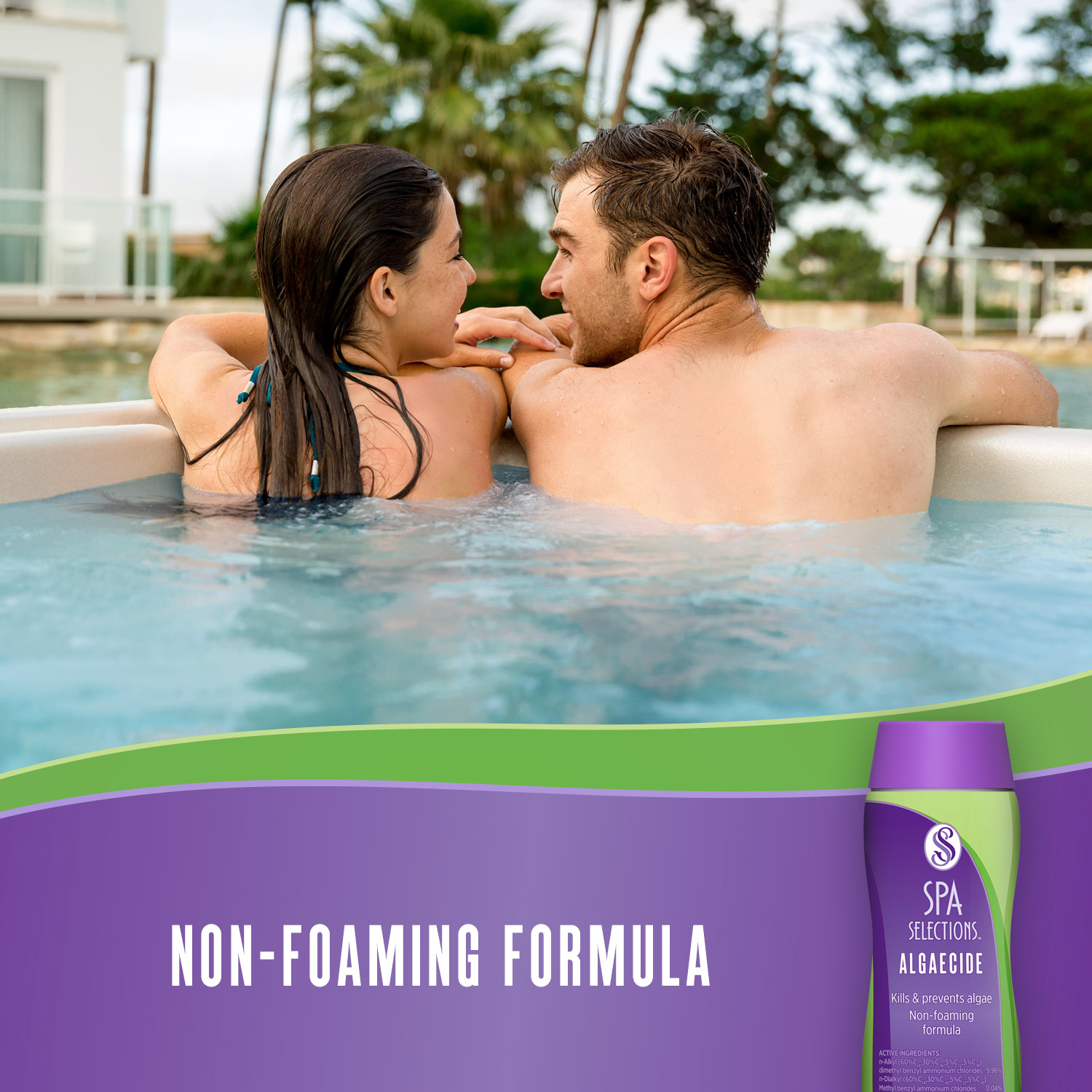 Couple in hot tub. Spa Selections non-foaming formula algaecide.