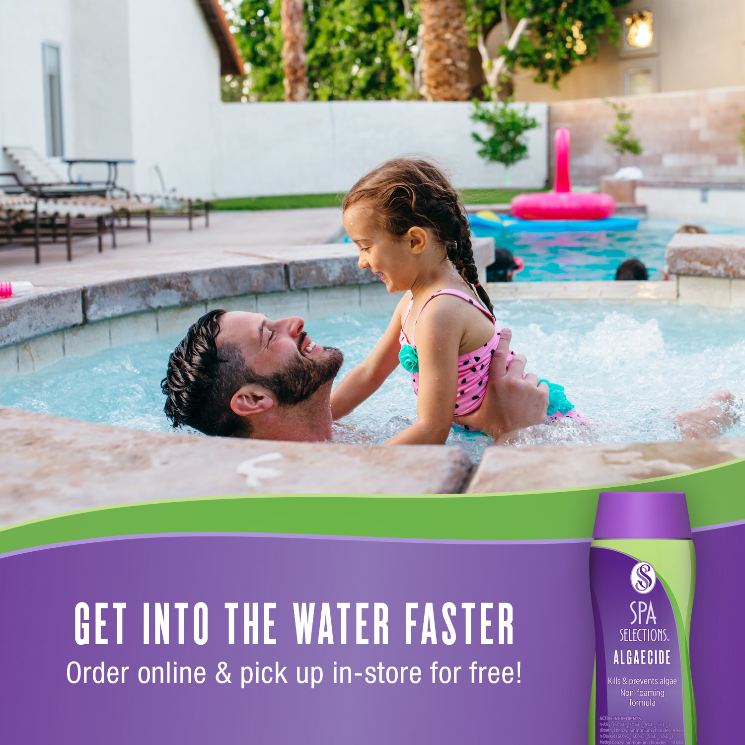 Order Spa Selections algaecide online and pick up in-store for free! Man and daughter enjoying clear hot tub.