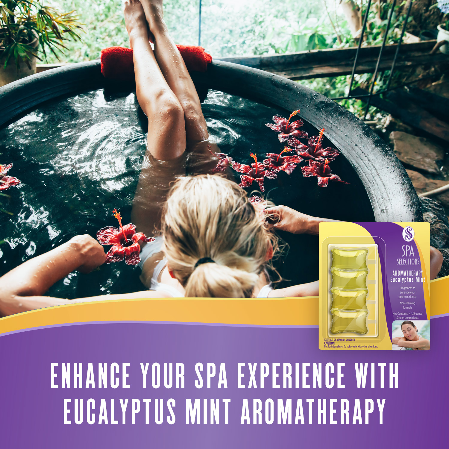 Woman enjoying hot tub overlooking a eucalyptus forest. Enhance your spa experience with eucalyptus mint aromatherapy from Spa Selections.