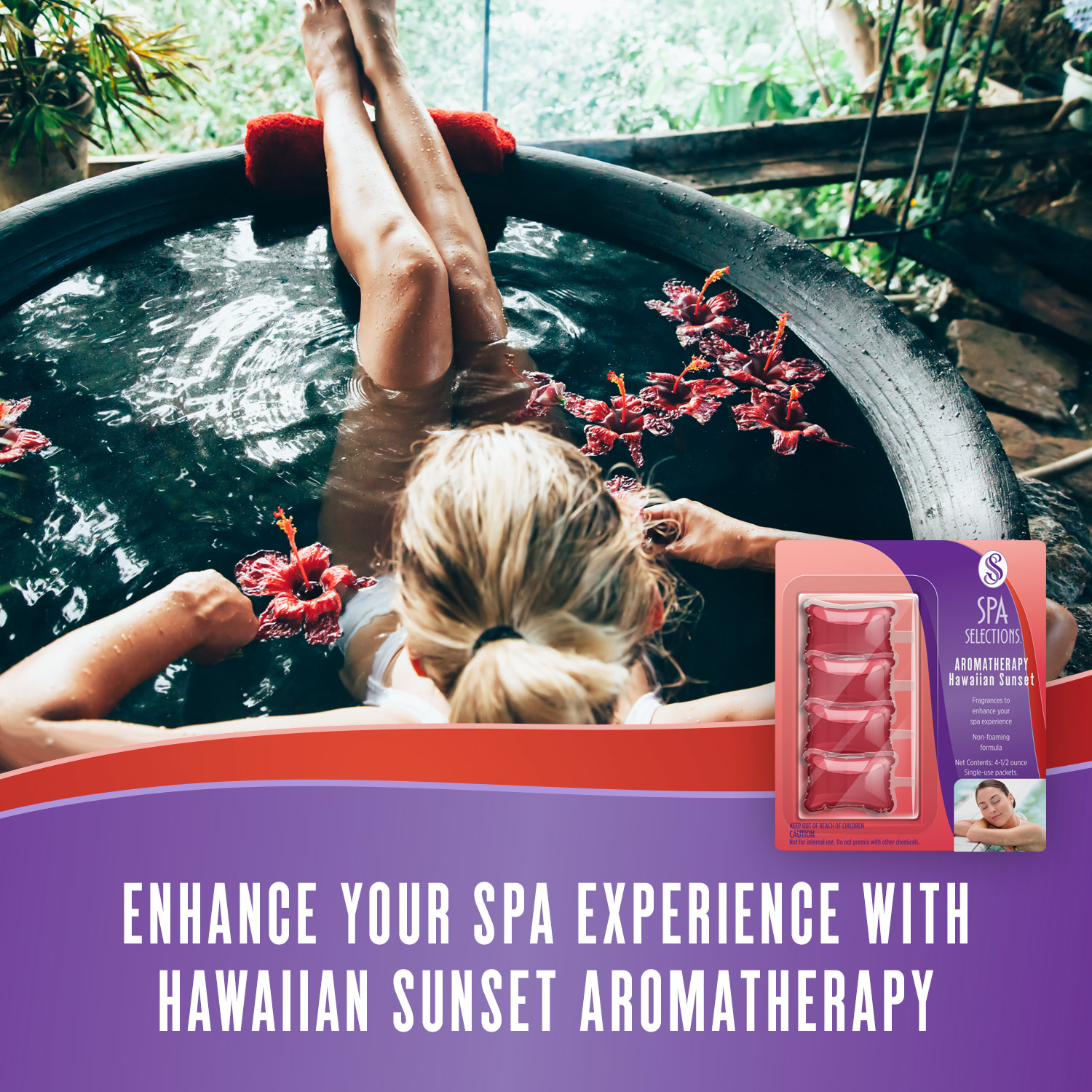 Woman enjoying hot tub overlooking a forest. Enhance your spa experience with Hawaiian Sunset aromatherapy from Spa Selections.