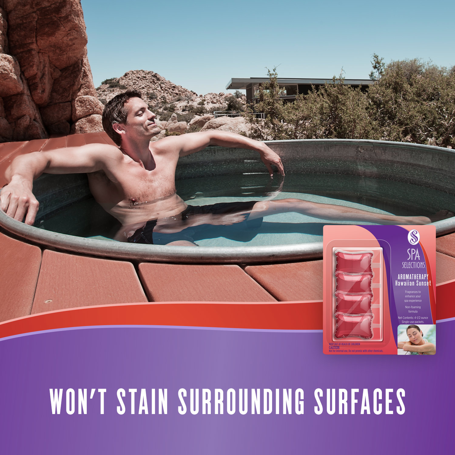 Man enjoying a hot tub in the desert. Spa Selections Hawaiian Sunset aromatherapy won't stain surrounding surfaces.