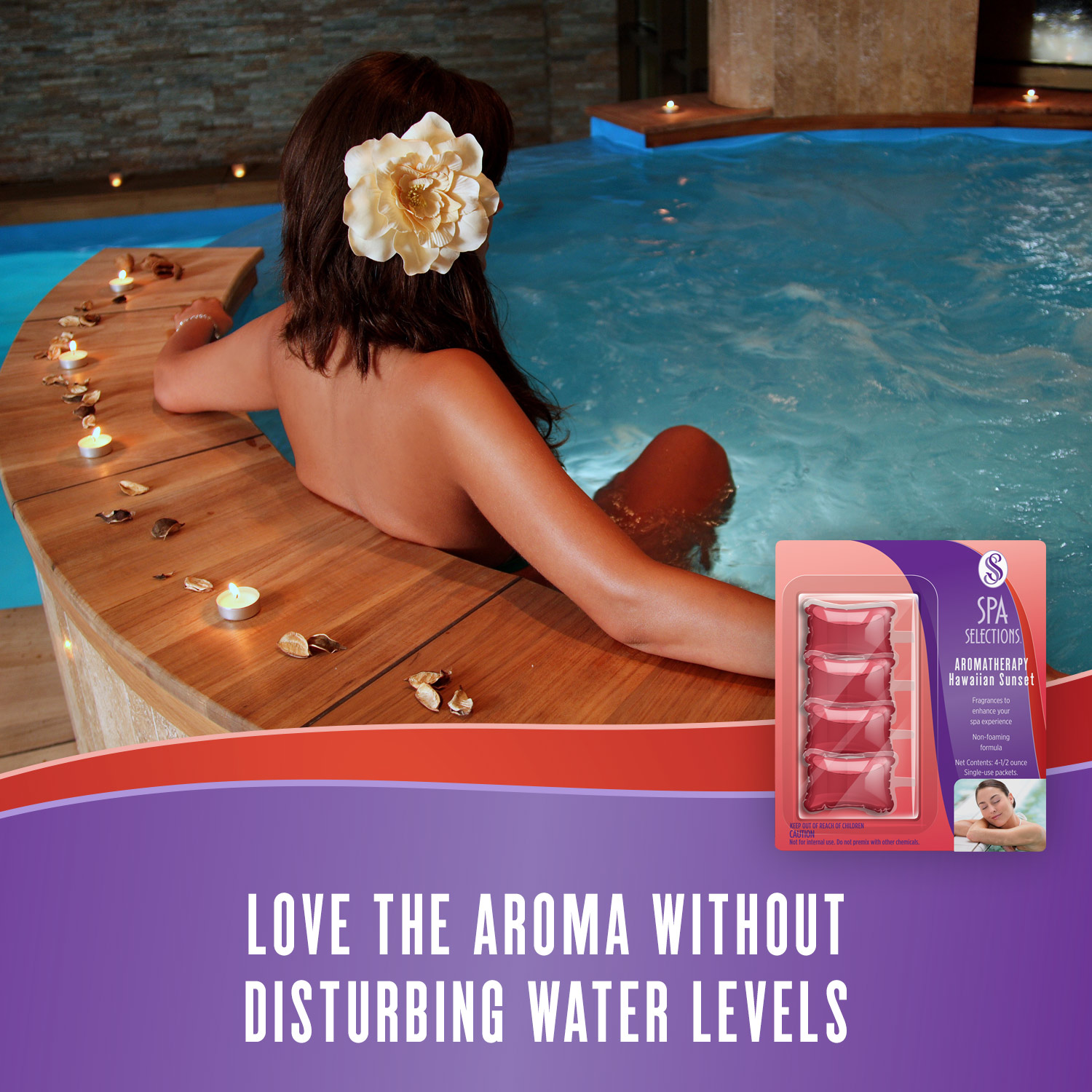 Woman enjoying an indoor spa with wooden siding and Spa Selections Hawaiian Sunset aromatherapy. Love the aroma without disturbing water levels.