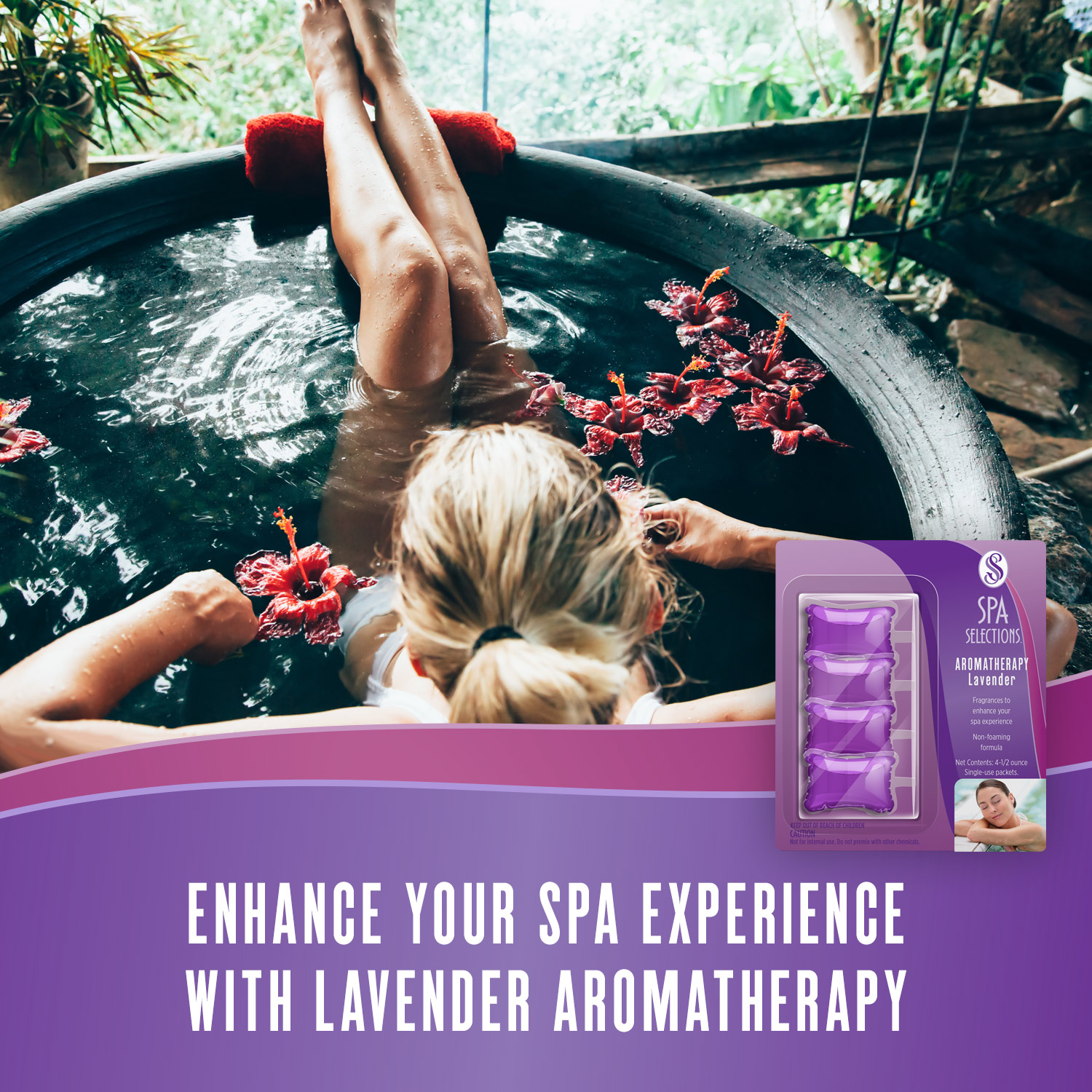 Woman enjoying hot tub overlooking a forest. Enhance your spa experience with lavender aromatherapy from Spa Selections.