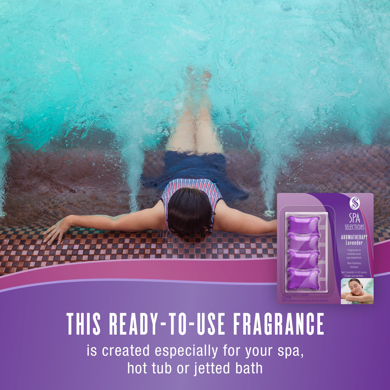 Woman enjoying large spa. Spa Selections ready-to-use fragrance is created especially for your spa, hot tub or jetted bath.