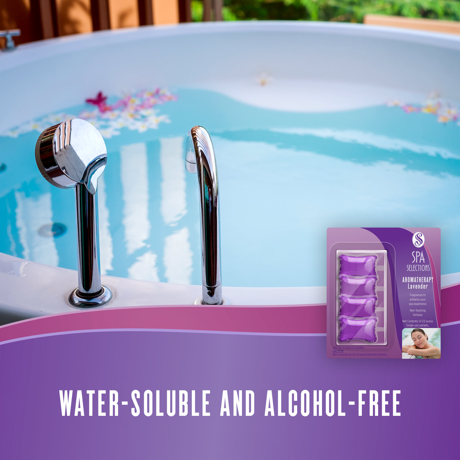 Spa Selections aromatherapy packets are water-soluble and alcohol-free. Photo of outdoor spa.