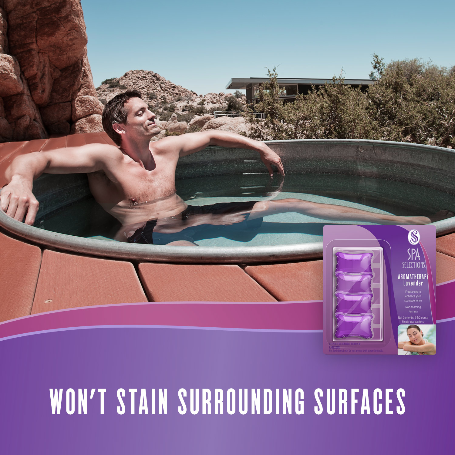 Man enjoying a hot tub in the desert. Spa Selections lavender aromatherapy won't stain surrounding surfaces.