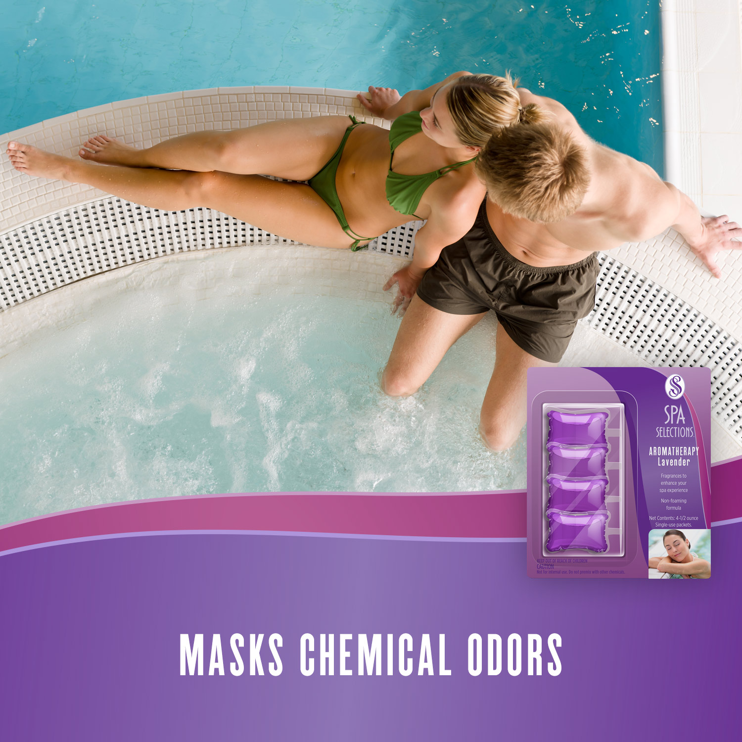 Spa Selections lavender aromatherapy masks chemical odors in spa. Photo of man and woman enjoying a hot tub attached to a pool.