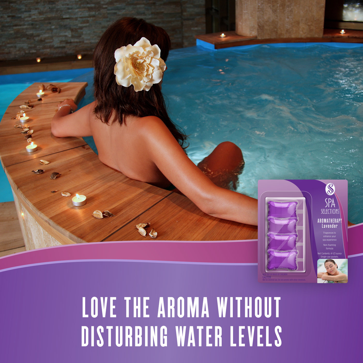 Woman enjoying an indoor spa with wooden siding and Spa Selections lavender aromatherapy. Love the aroma without disturbing water levels.