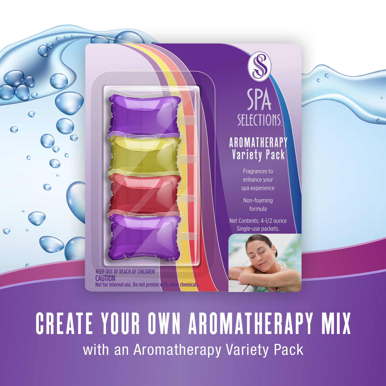 Spa Selections aromatherapy variety pack product packaging. Four fragrances included.