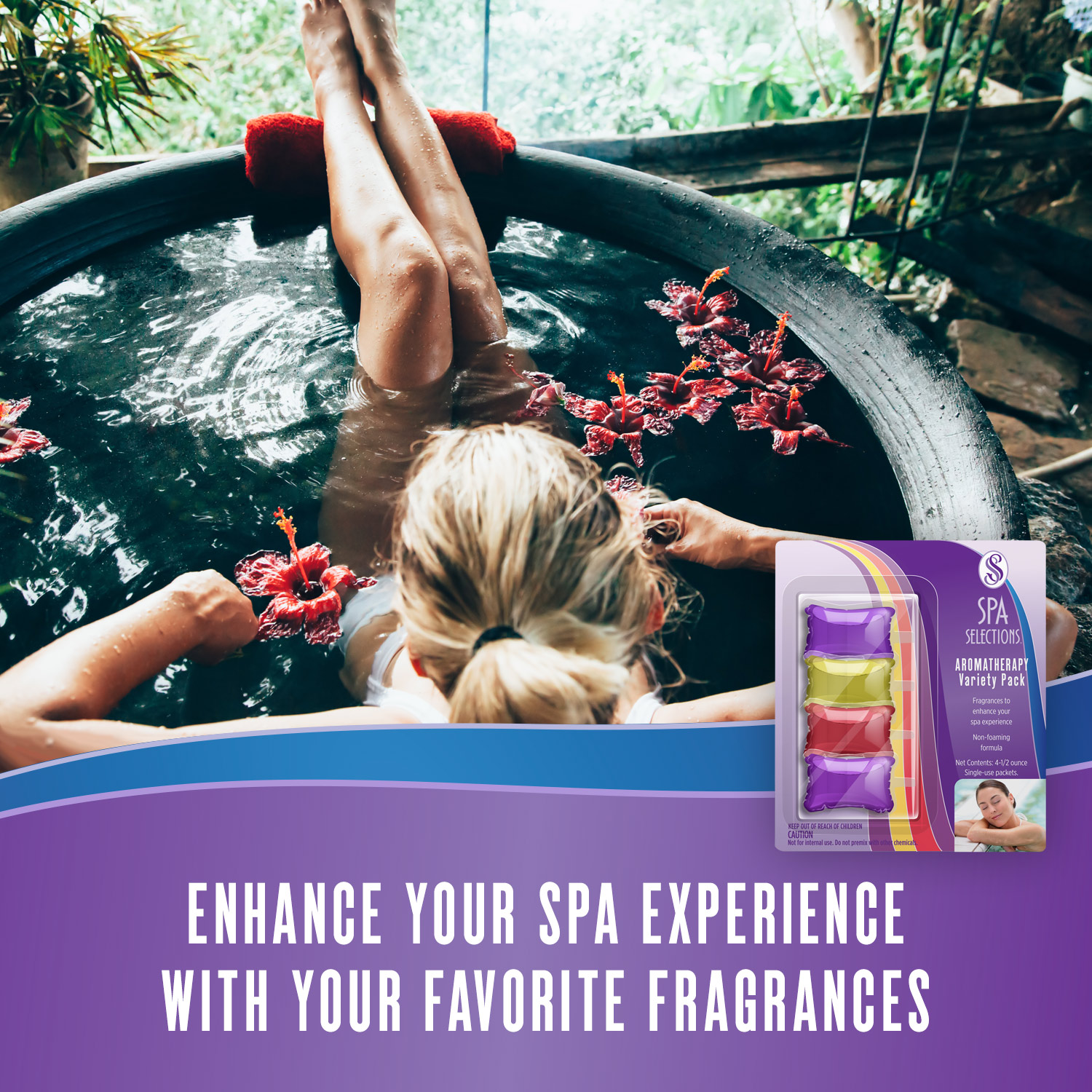 Woman enjoying hot tub overlooking a forest. Enhance your spa experience with aromatherapy from Spa Selections.