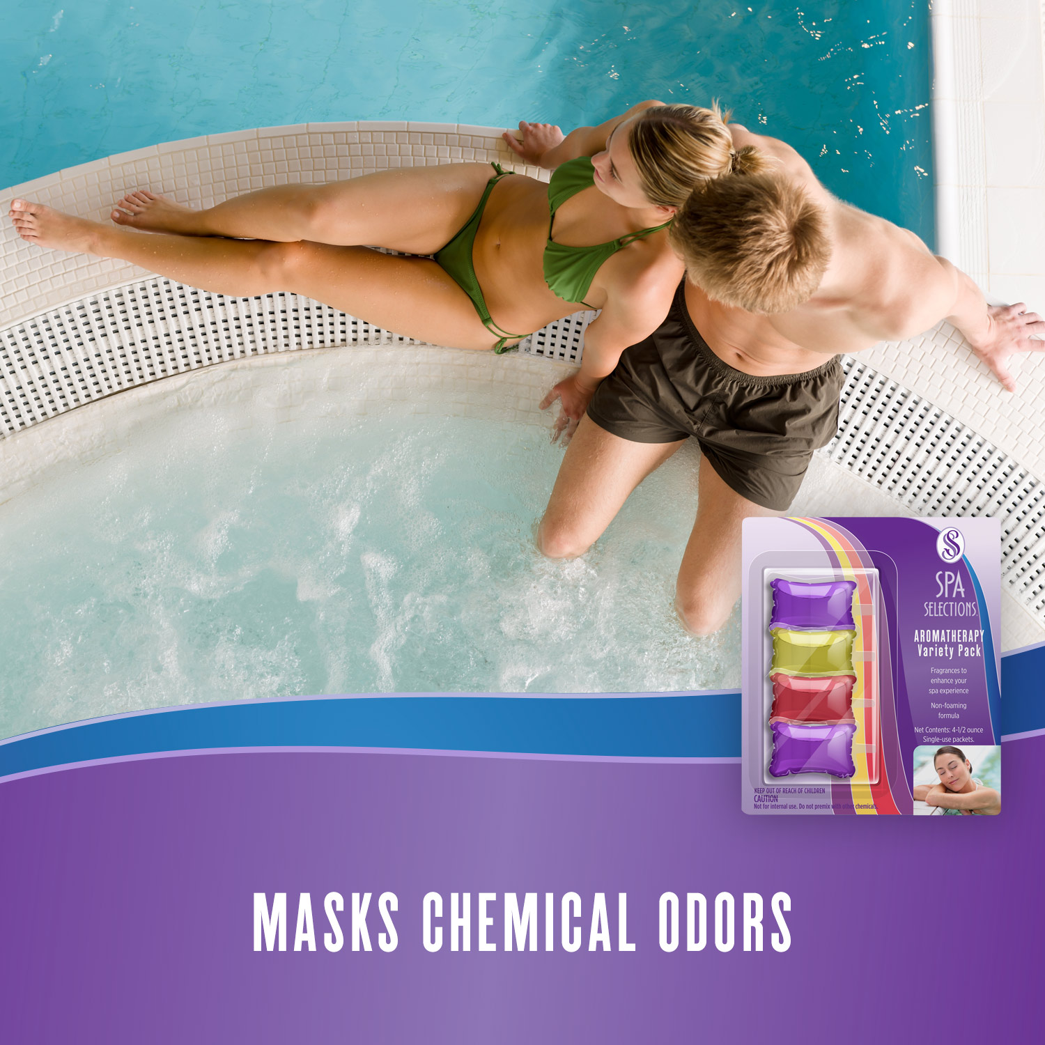 Spa Selections aromatherapy masks chemical odors in spa. Photo of man and woman enjoying a hot tub attached to a pool.
