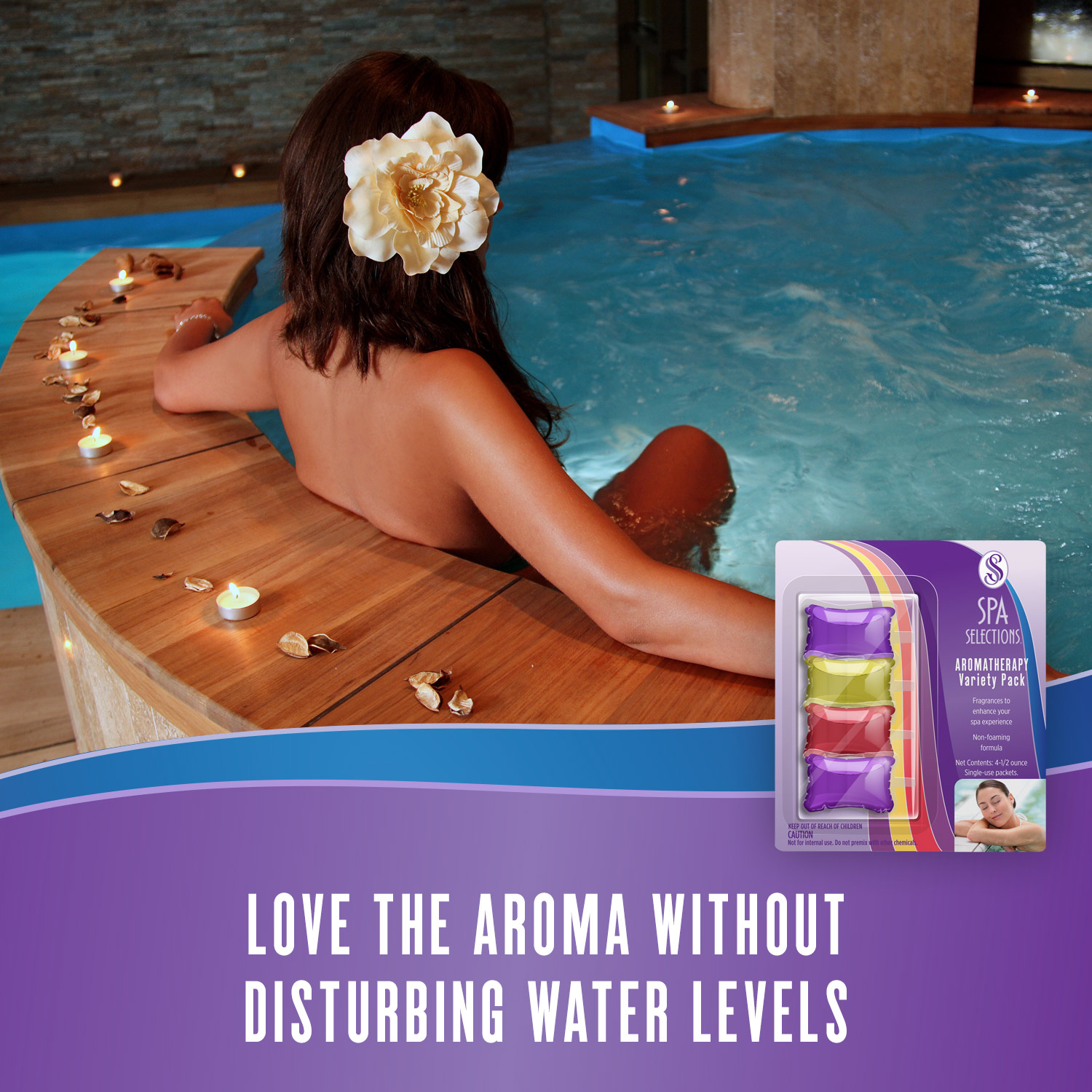Woman enjoying an indoor spa with wooden siding and Spa Selections aromatherapy. Love the aroma without disturbing water levels.