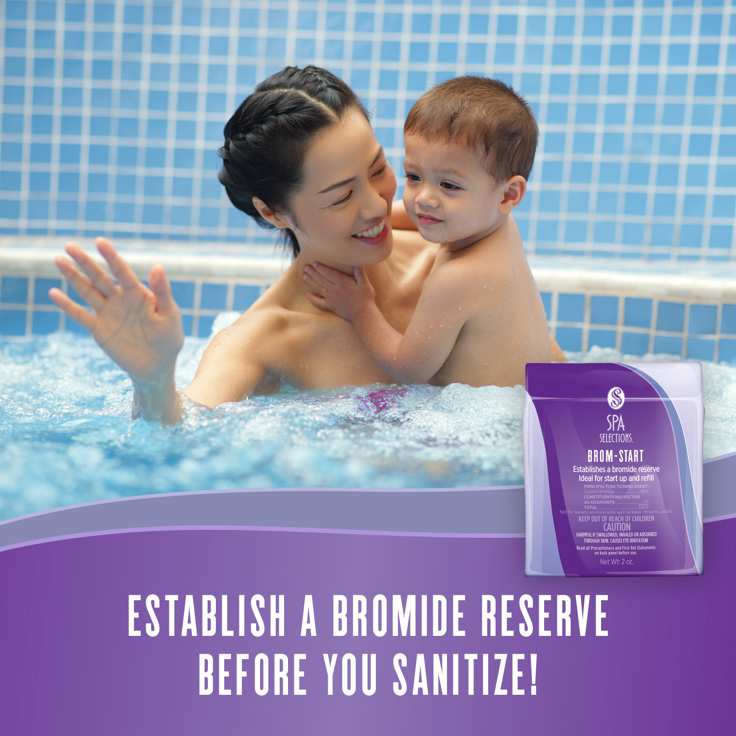 Mother holding young child enjoying a hot tub. Establish a bromide reserve before you sanitize with Spa Selections Brom-Start!