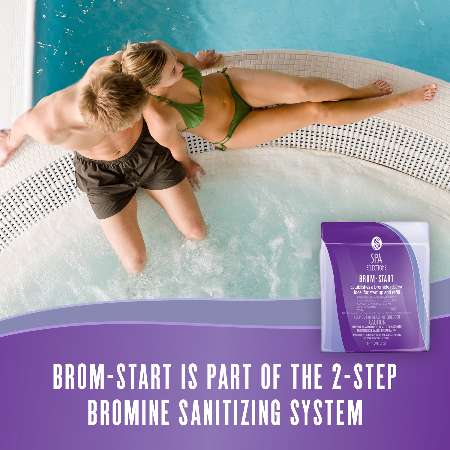 Couple enjoying an outdoor hot tub. Spa Selections Brom-Start is part of the 2-step bromine sanitizing system.