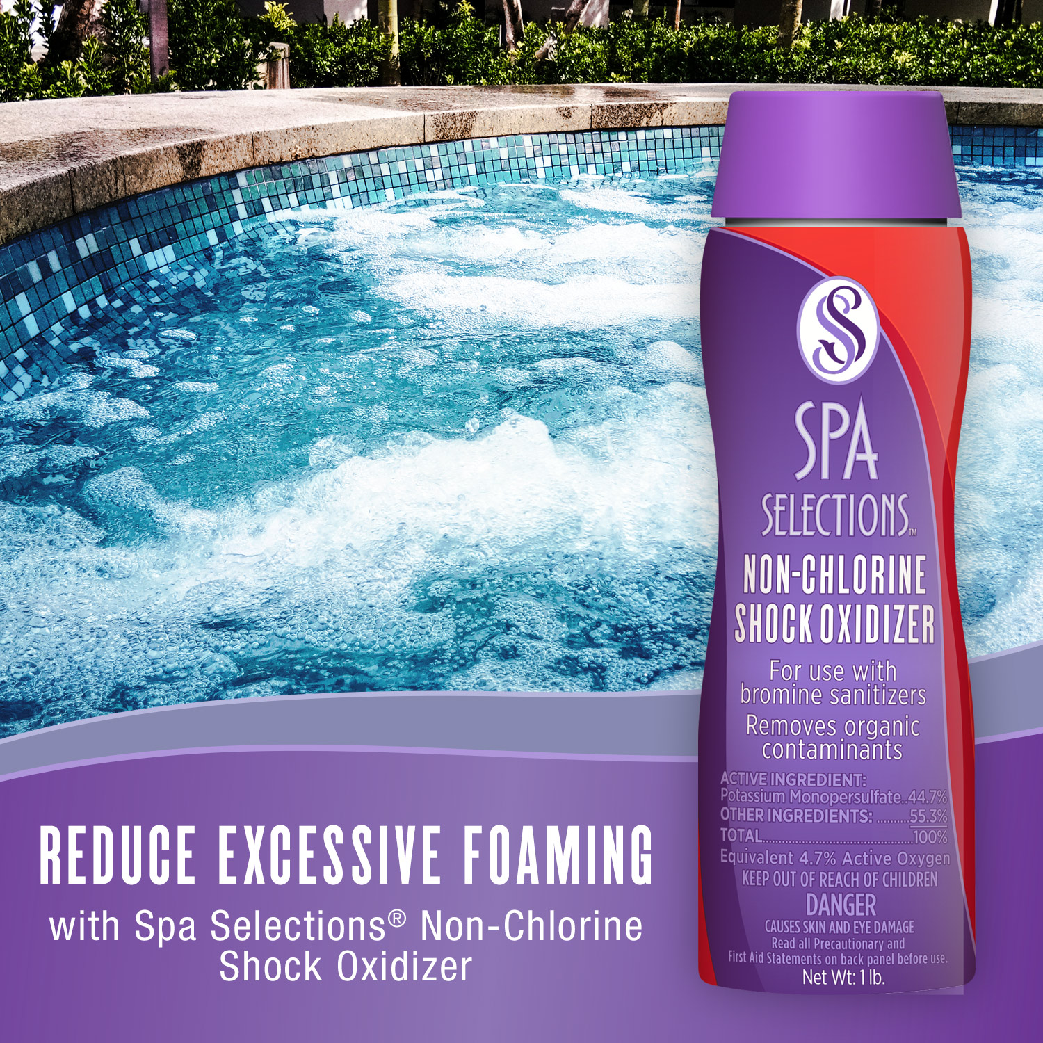 Photo of outdoor spa. Reduce excessive foaming with Spa Selections non-chlorine shock oxidizer.