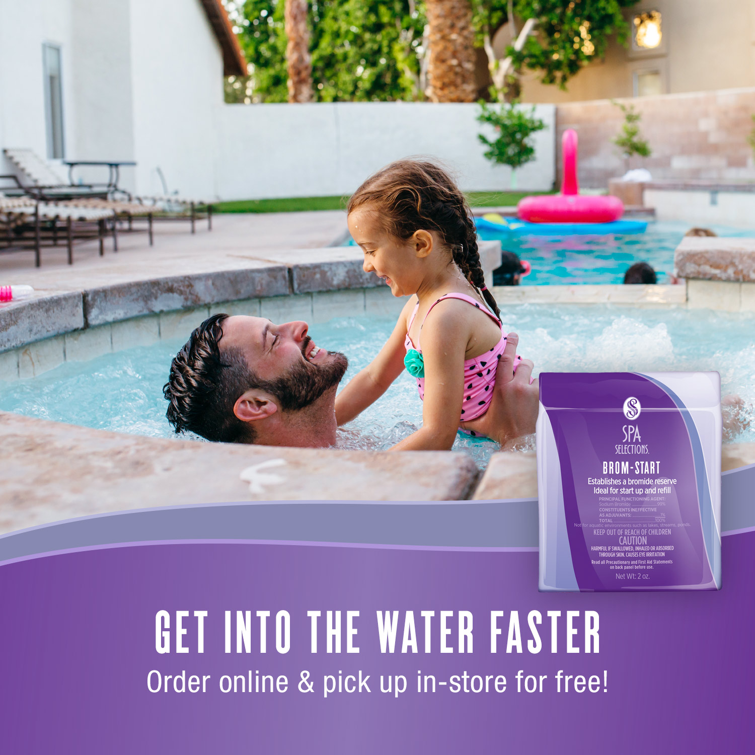 Father and daughter enjoying outdoor hot tub. Get into the water faster with Spa Selections Brom-Start, order online and pick up in-store for free!