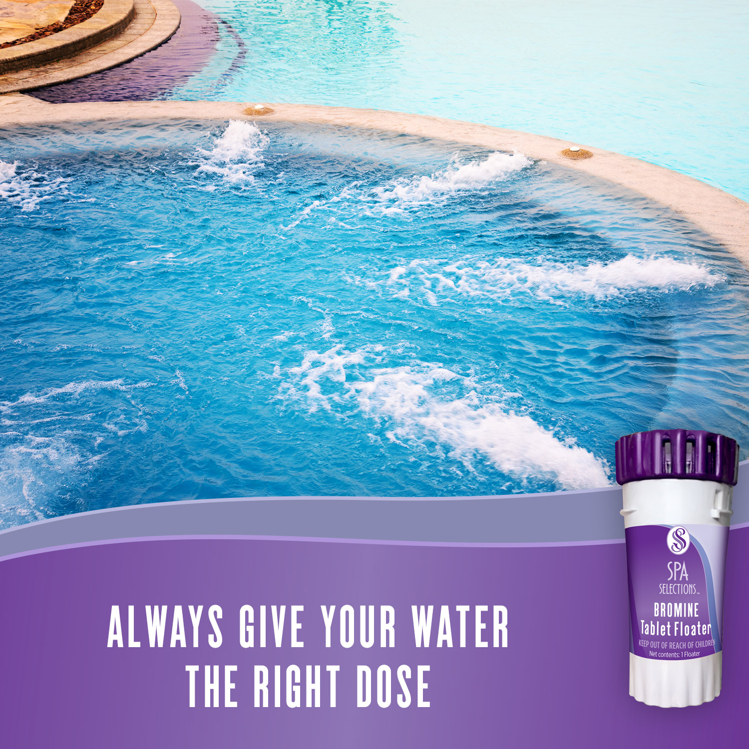 Always give your water the right dose with Spa Selections bromine tablet floater. Photo of outdoor hot tub with jets on and crystal clear water.