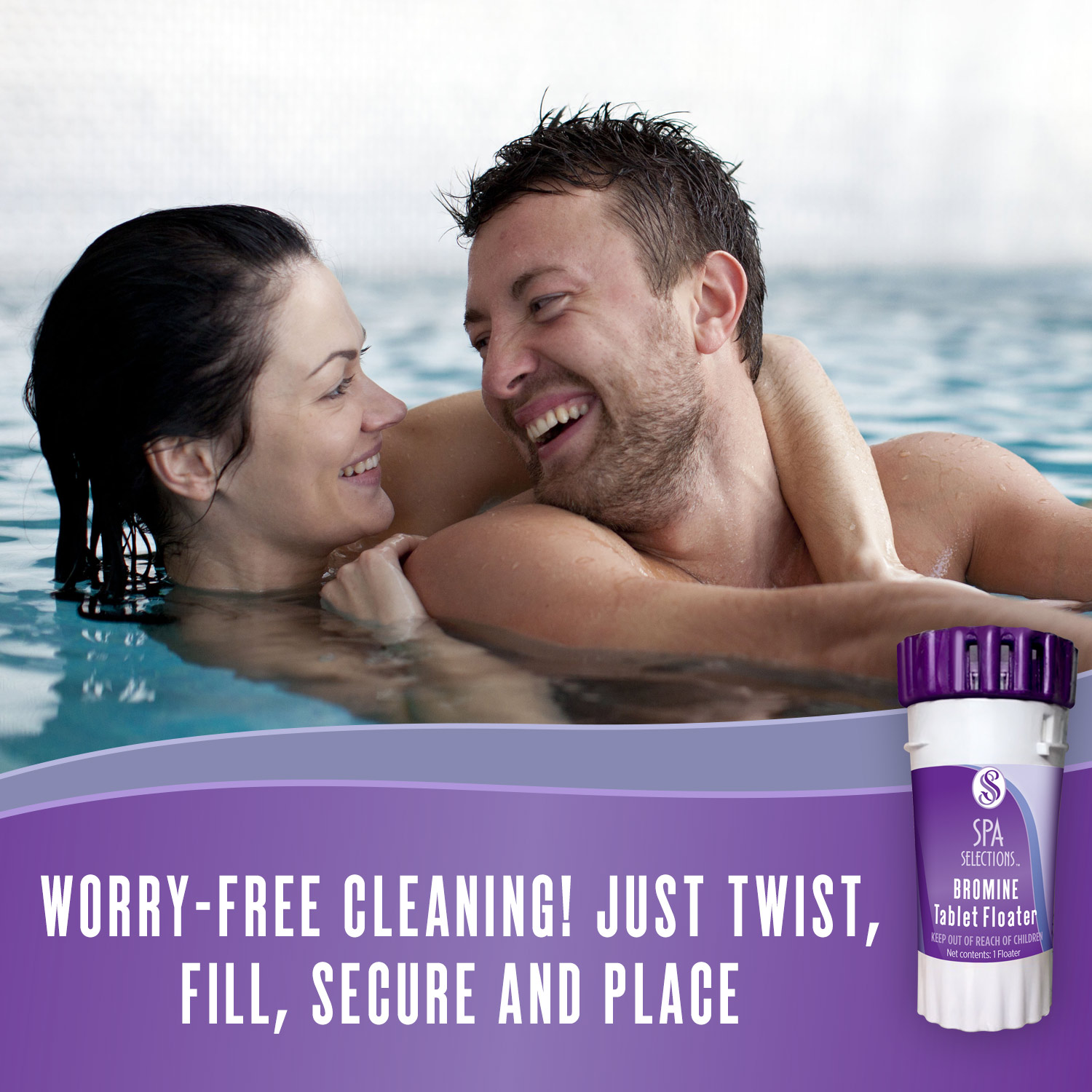 Couple laughing together in a hot tub. Worry-free cleaning with Spa Selections bromine tablet floater! Just twist, fill, secure and place!