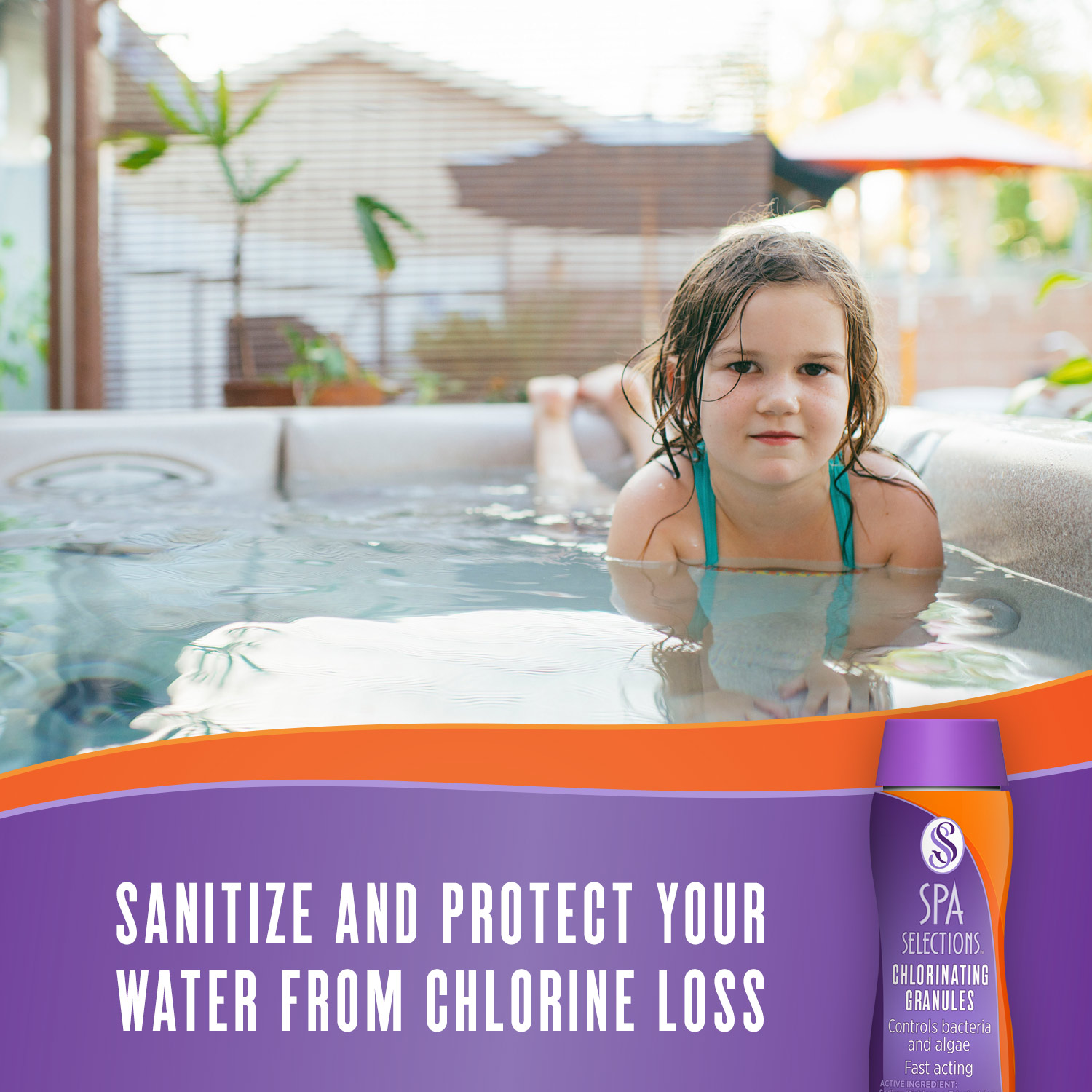 Little girl swimming in outdoor hot tub. Sanitize and protect your water from chlorine loss with Spa Selections chlorinating granules.