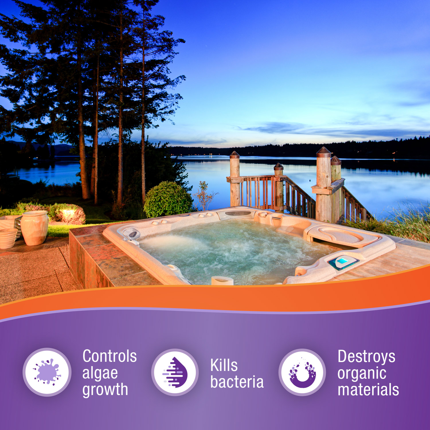 Spa Selections chlorinating granules controls algae growth, kills bacteria and destroys organic materials. Photo of outdoor hot tub overlooking a lake.
