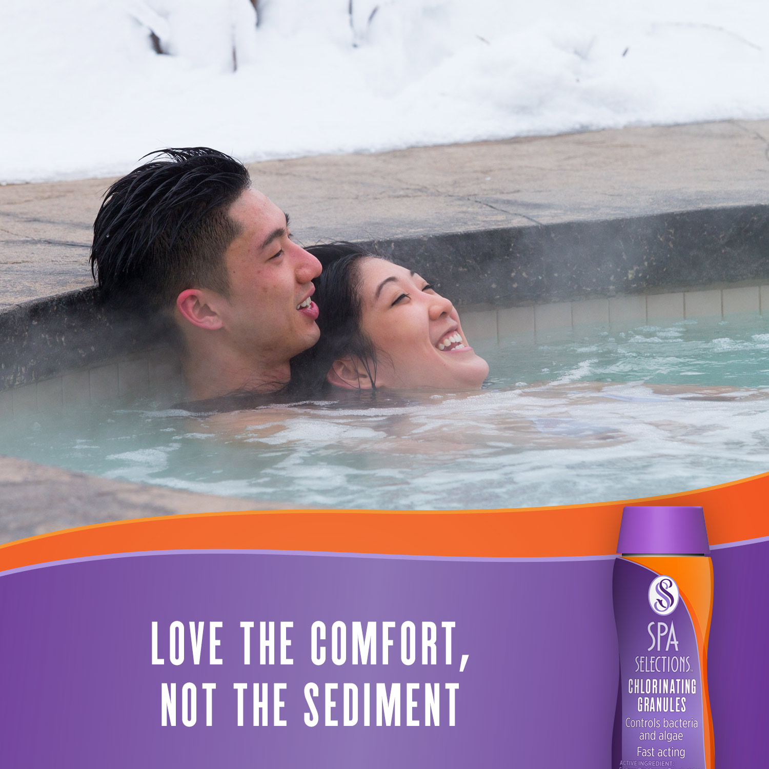 Couple enjoying an outdoor hot tub. Spa Selections chlorinating granules: love the comfort, not the sediment.