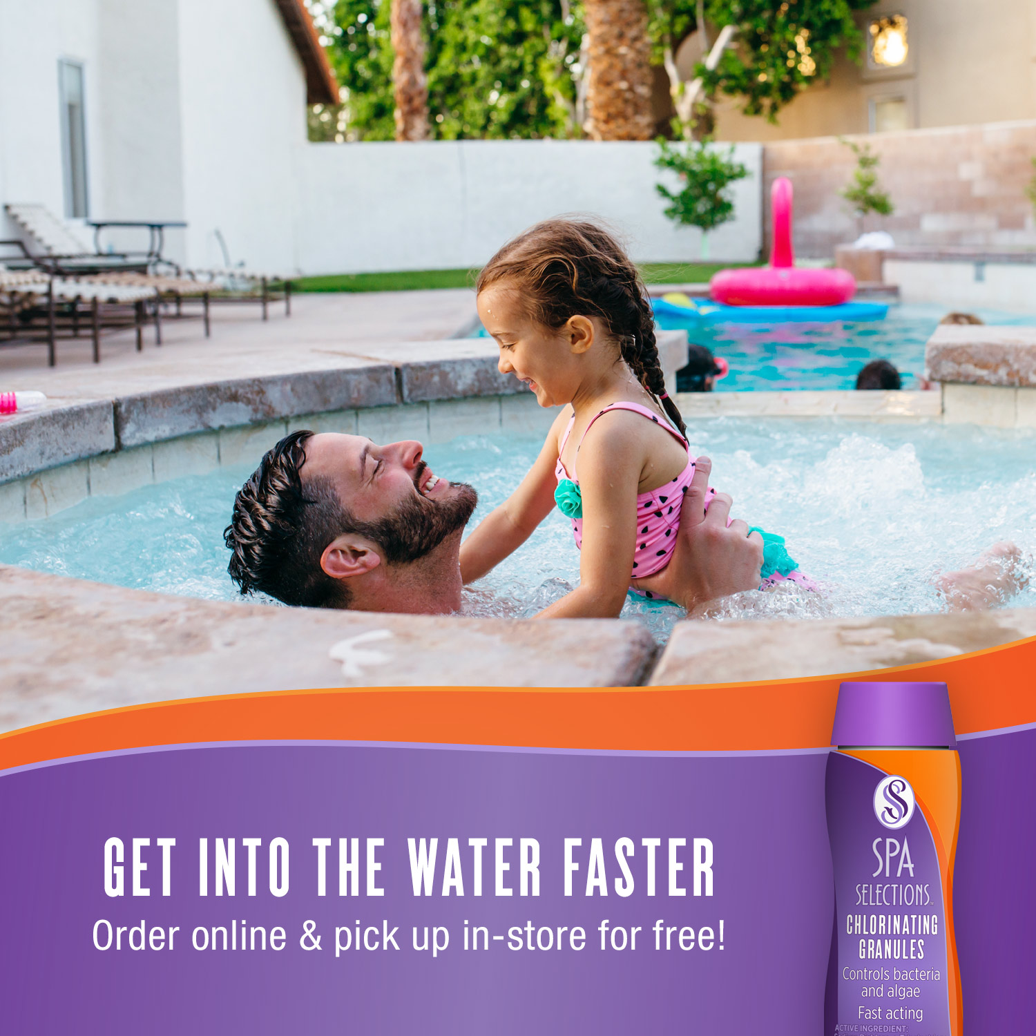 Father and daughter enjoying outdoor hot tub. Get into the water faster with Spa Selections chlorinating granules order online and pick up in-store for free!