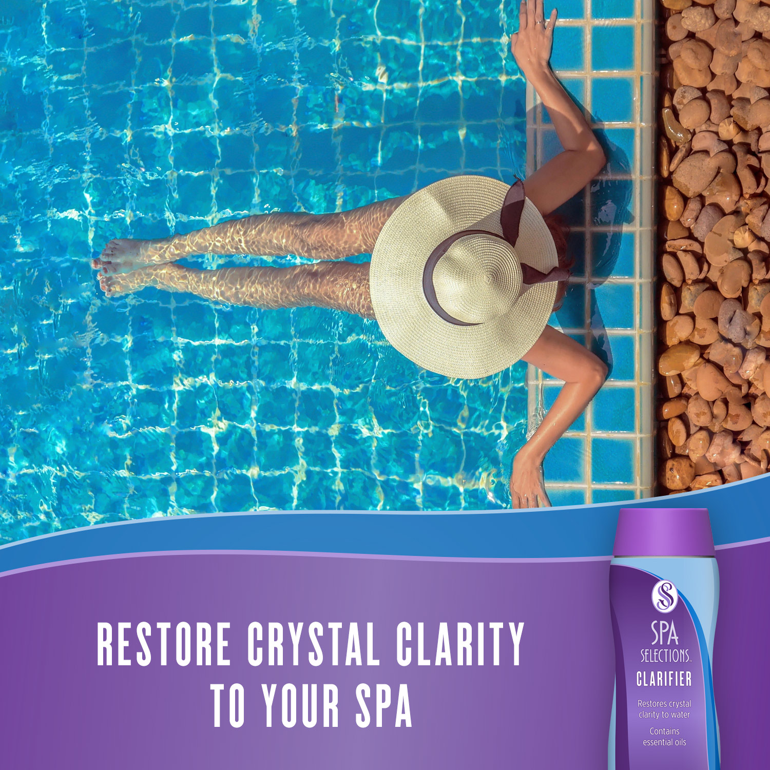 Spa Selections Clarifier restores crystal clarity to your spa. Photo of woman in sun hat enjoying outdoor spa with crystal clear water.