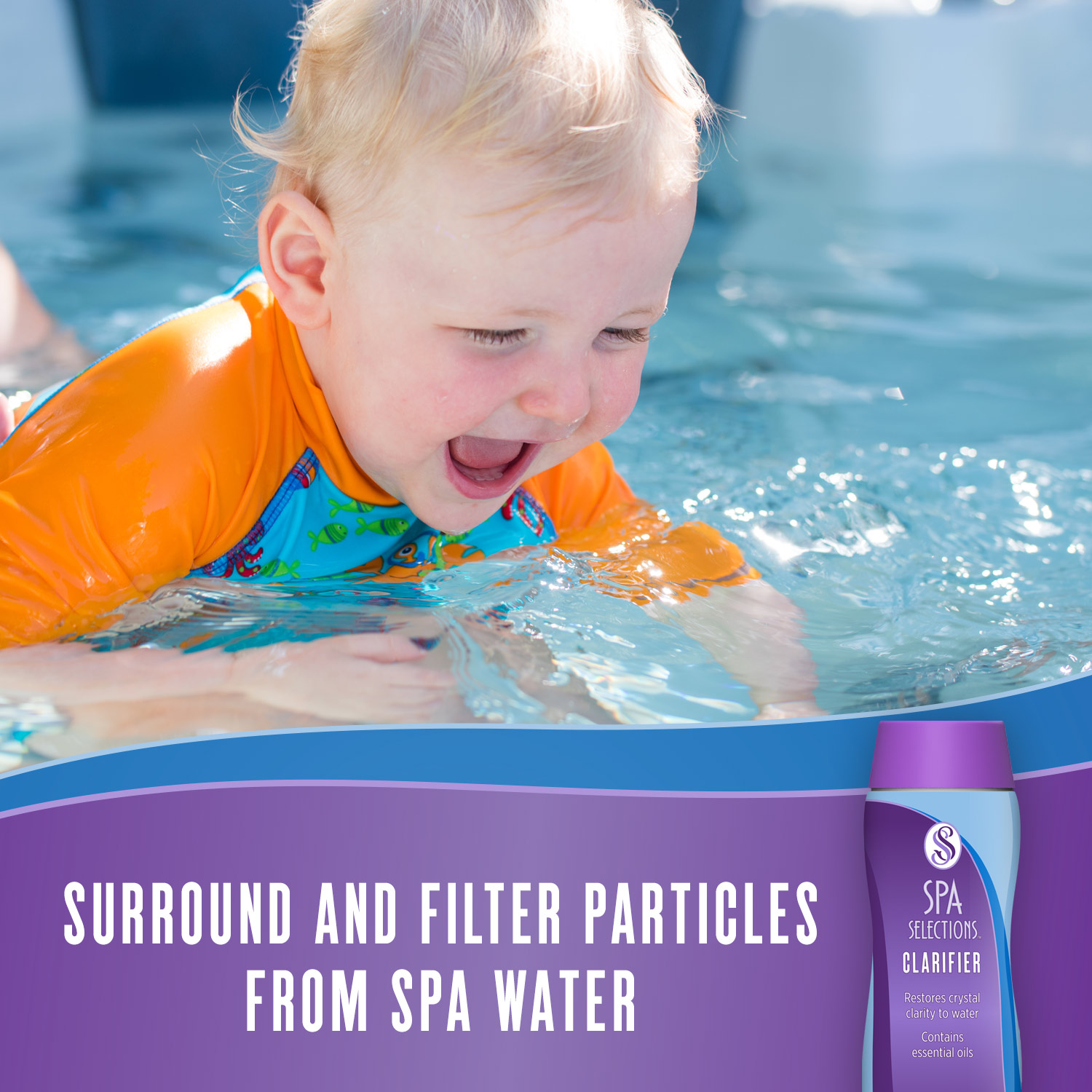 Spa Selections Clarifier surrounds and filters particles from spa water. Photo of young child swimming in pool.
