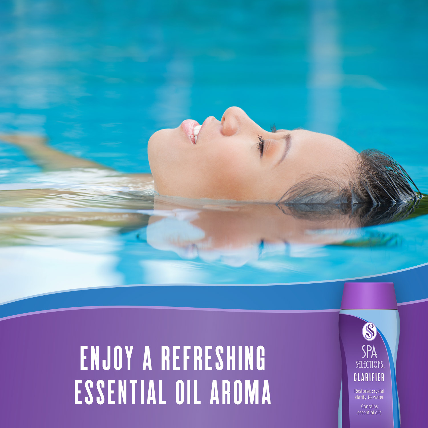 Spa Selections Clarifier allows you to enjoy a refreshing essential oil aroma in your spa or hot tub. Photo of woman floating on back in an outdoor pool.