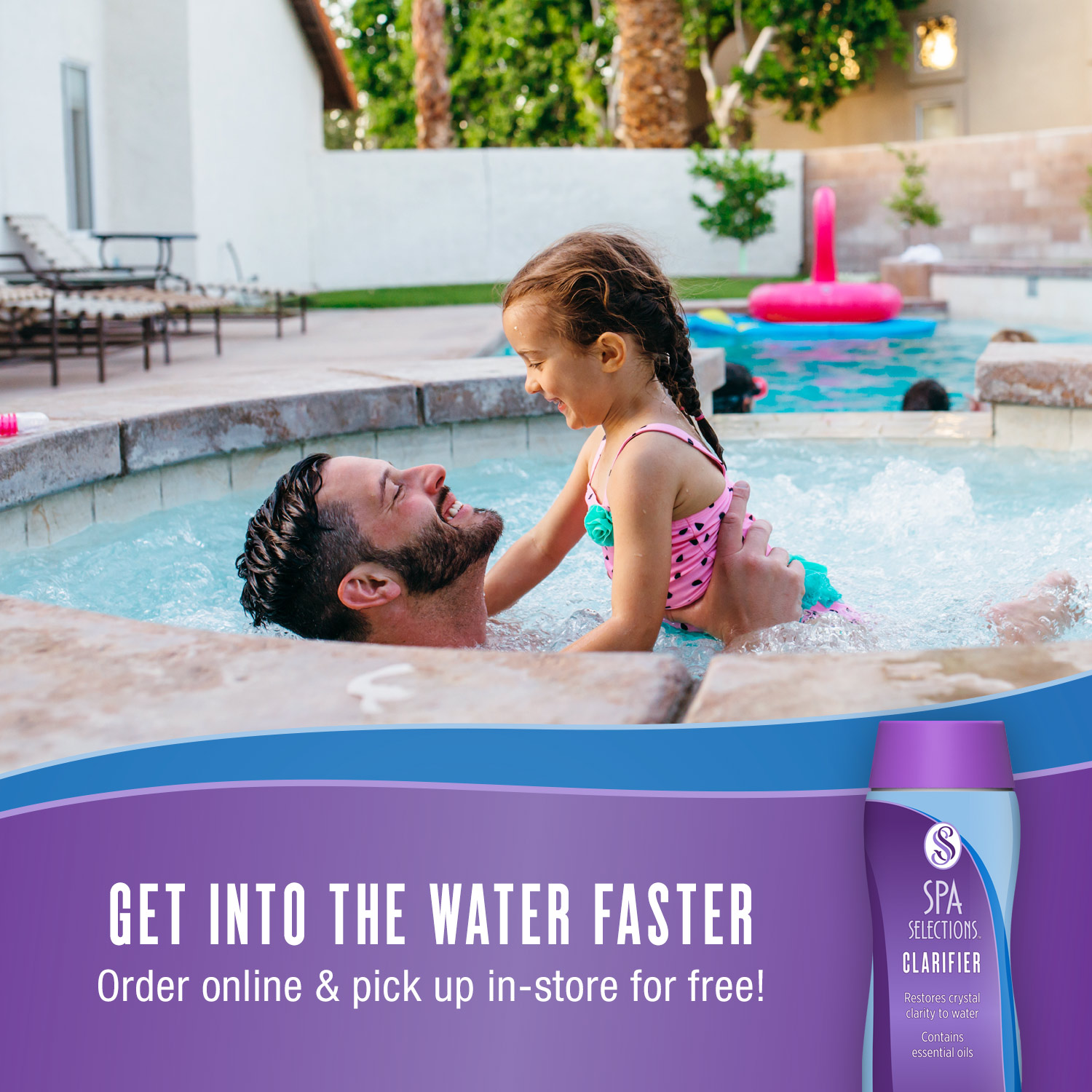 Father and daughter enjoying outdoor hot tub. Get into the water faster with Spa Selections Clarifier, order online and pick up in-store for free!