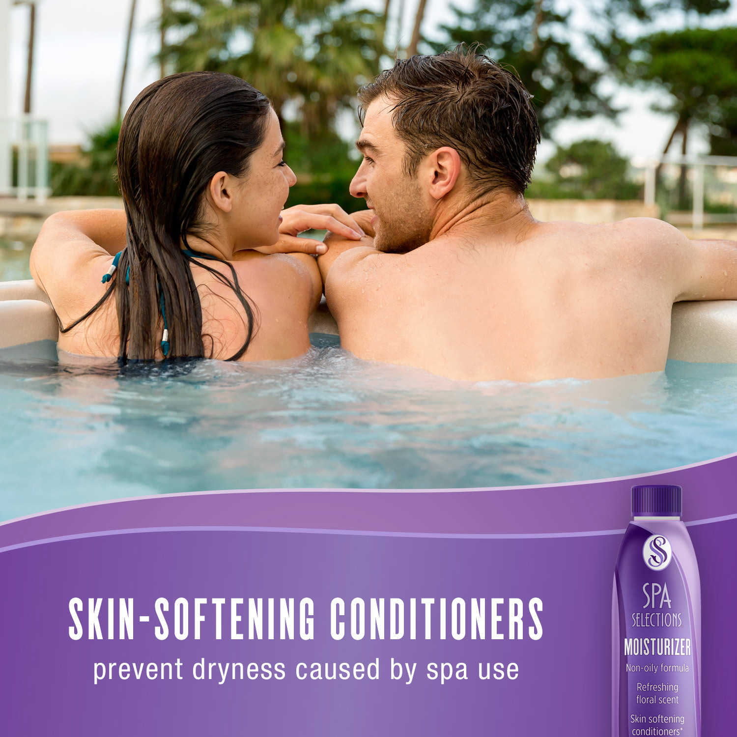 Spa Selections Moisturizer has skin-softening conditioners that prevent dryness caused by spa use. Photo of a couple enjoying an outdoor spa on a sunny day.