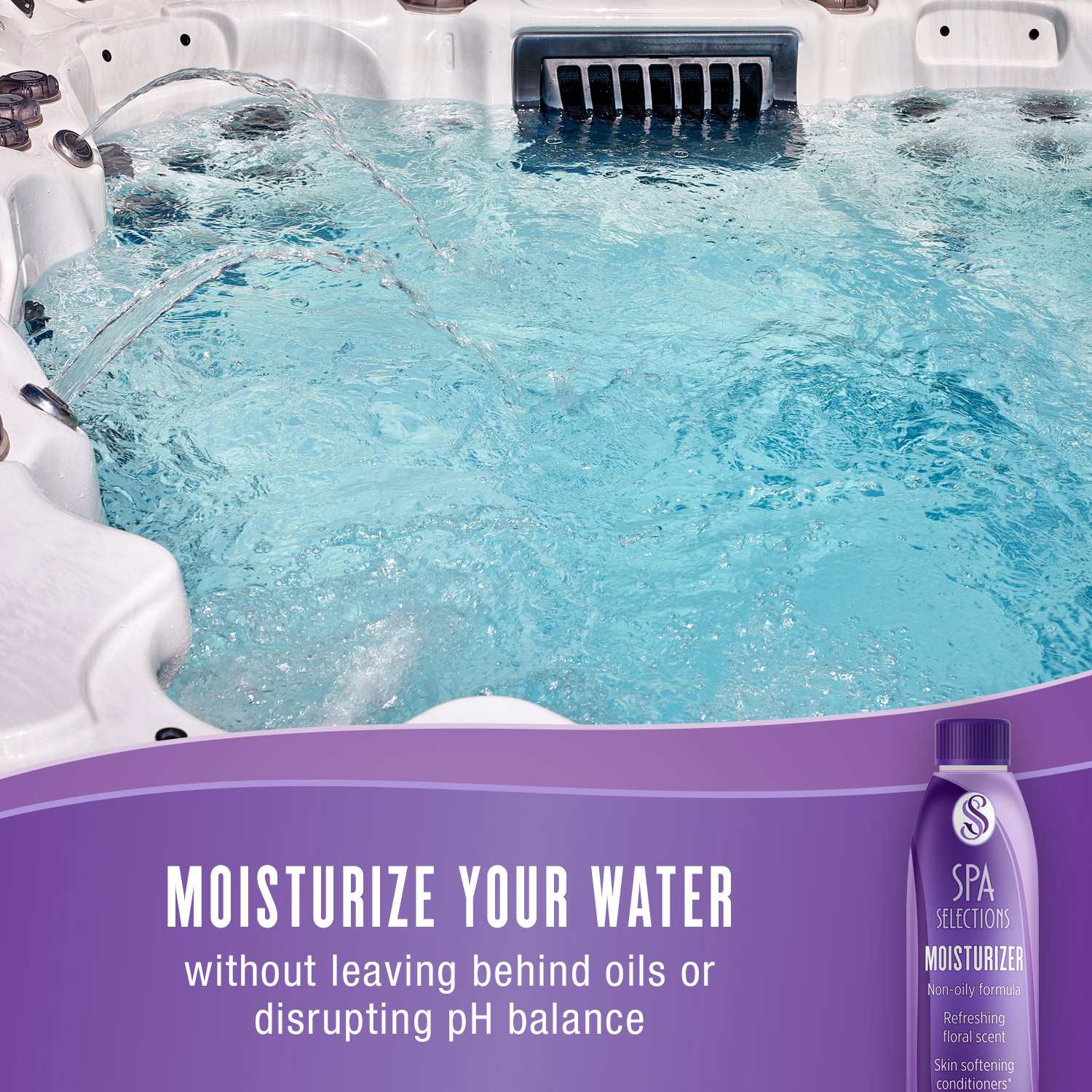 Moisturize your water without leaving behind oils or disrupting pH balance with Spa Selections Moisturizer. Photo of crystal clear water in an outdoor hot tub.