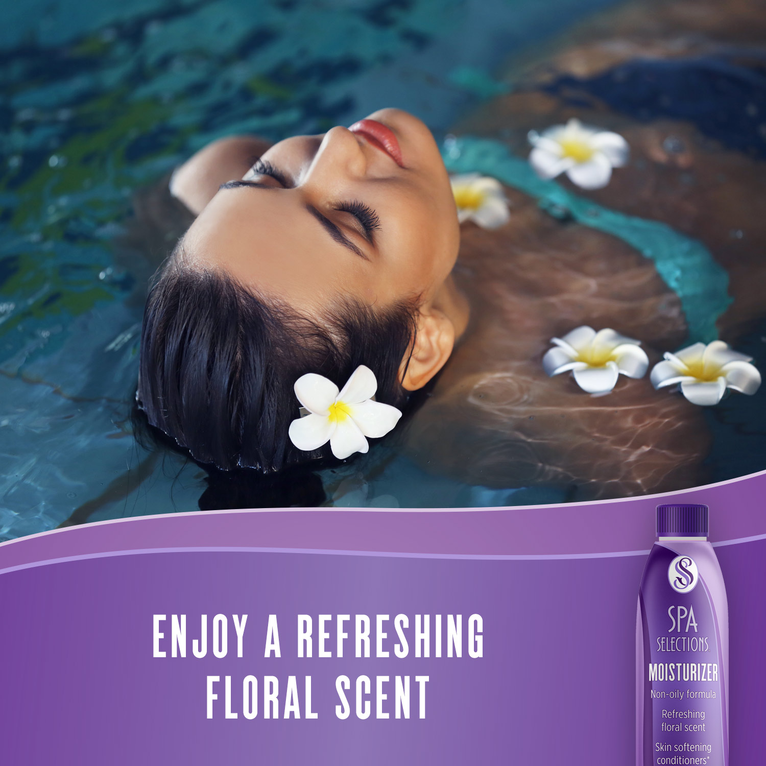Enjoy a refreshing floral scent with Spa Selections Moisturizer. Photo of woman in a spa with daisys floating nearby.