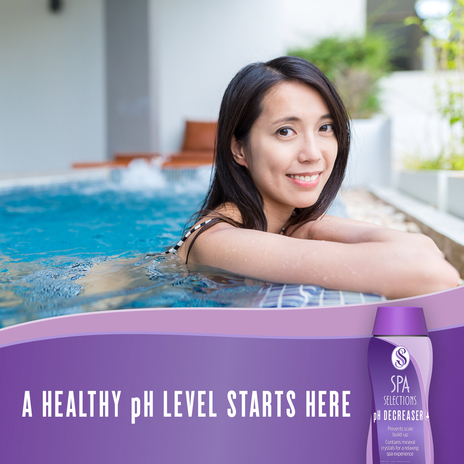 Photo of woman smiling in outdoor hot tub. A healthy pH level starts with Spa Selections pH Decreaser.