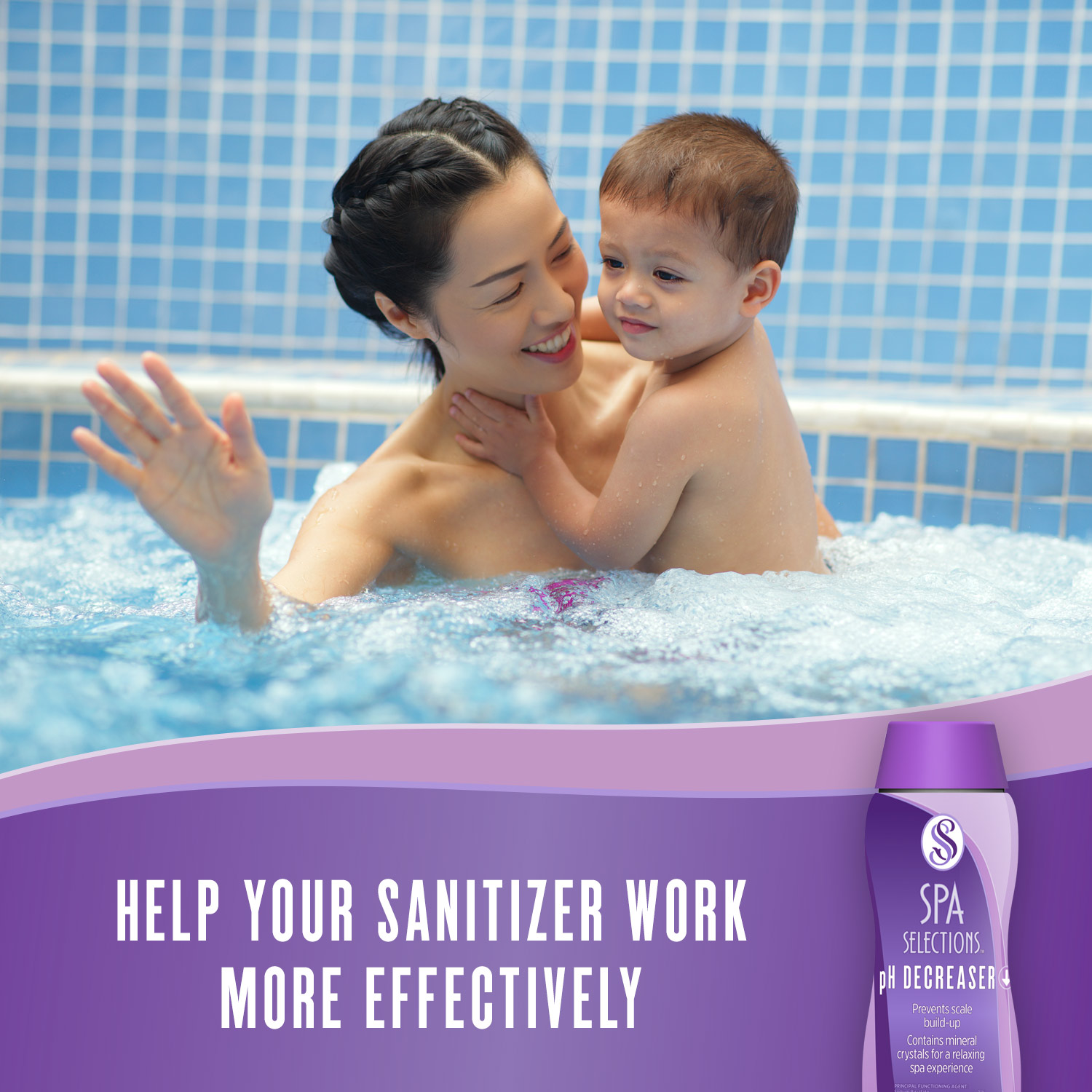 Mother holding young child enjoying a hot tub. Help your sanitizer work more effectively with Spa Selections pH Decreaser.