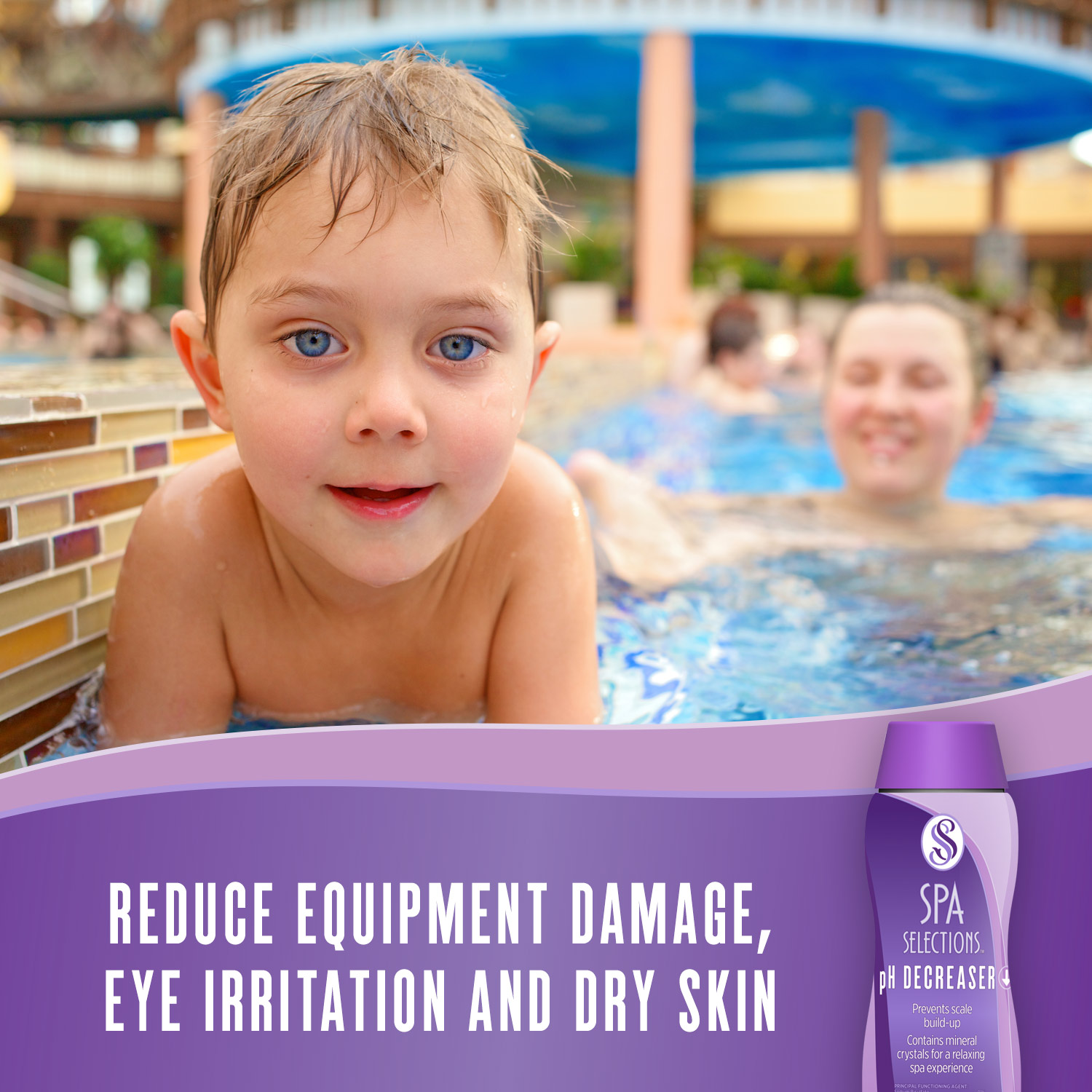 Blue eyed child enjoying an outdoor spa. Reduce equipment damage, eye irritation and dry skin with Spa Selections pH Decreaser.