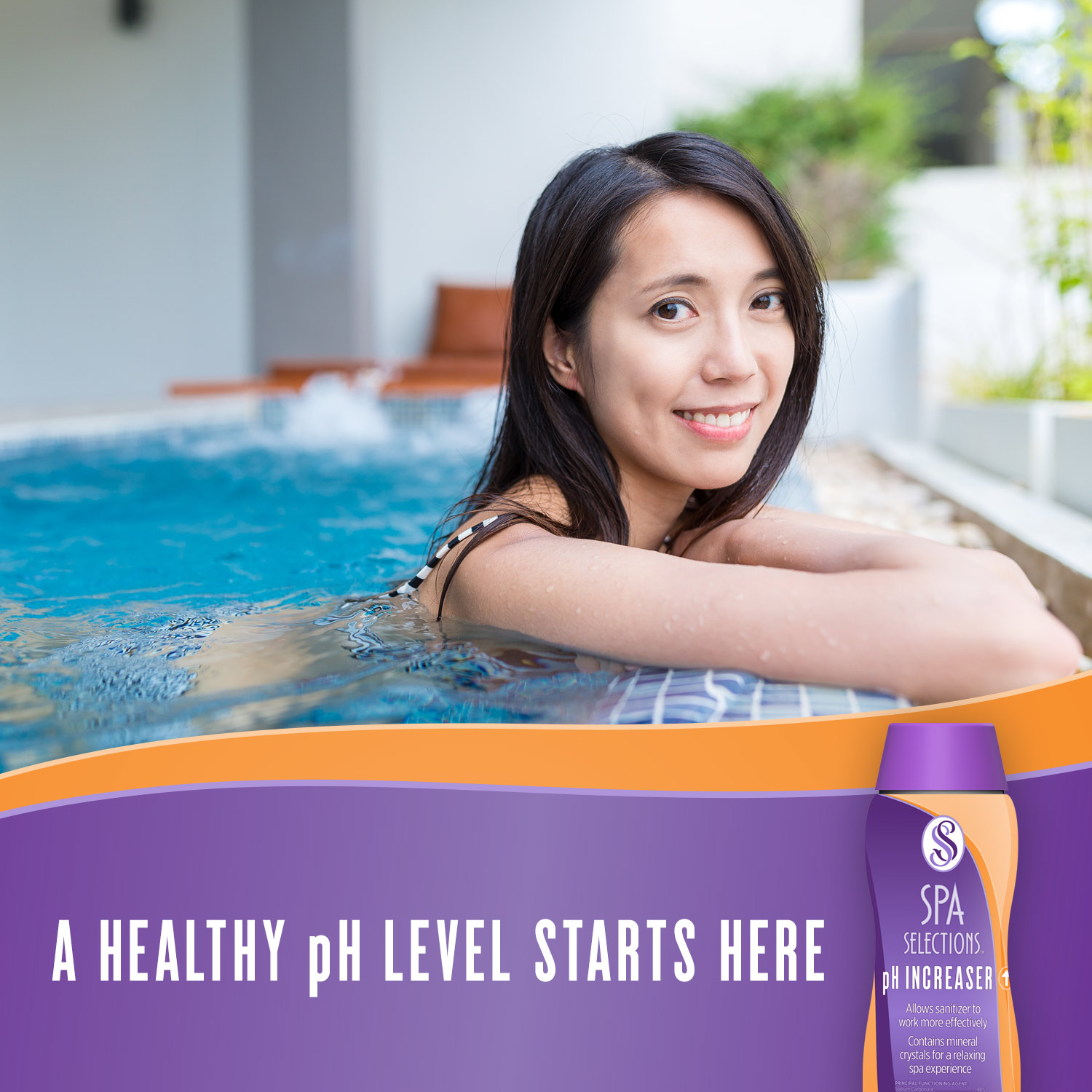 Photo of woman smiling in outdoor hot tub. A healthy pH level starts with Spa Selections pH Increaser.