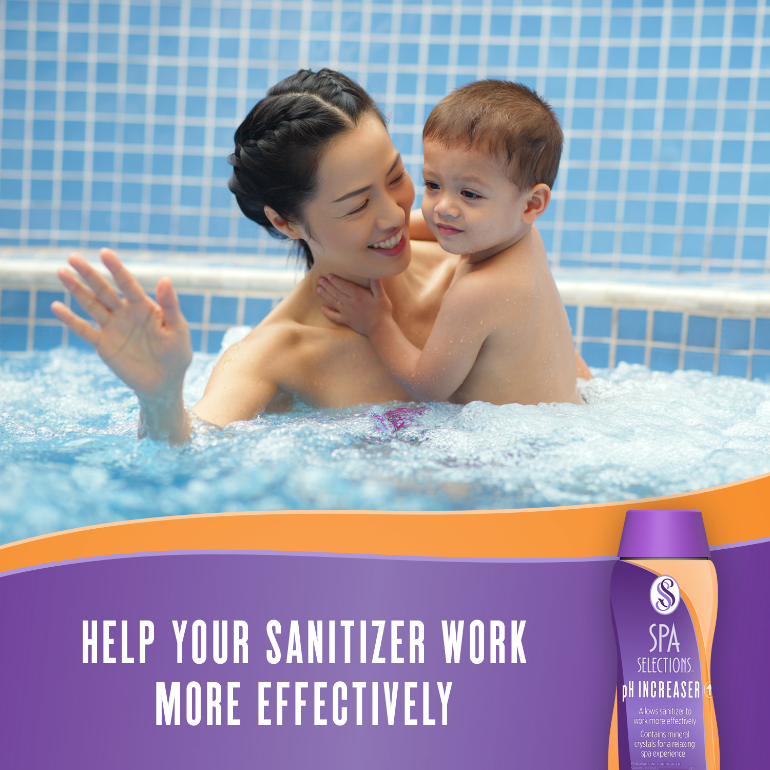 Mother holding young child enjoying a hot tub. Help your sanitizer work more effectively with Spa Selections pH Increaser.