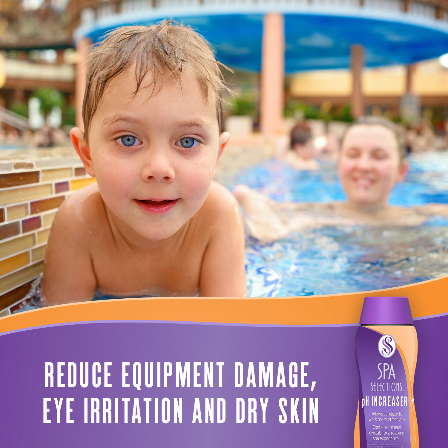 Blue eyed child enjoying an outdoor spa. Reduce equipment damage, eye irritation and dry skin with Spa Selections pH Increaser.