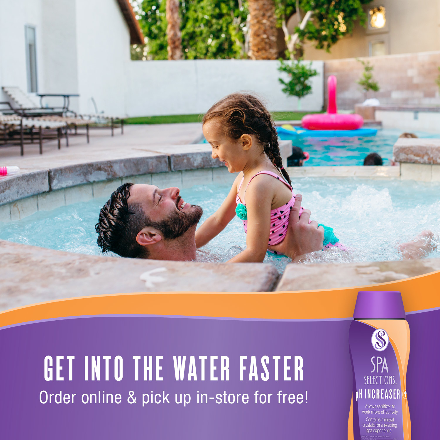 Father and daughter enjoying outdoor hot tub. Get into the water faster with Spa Selections pH Increaser, order online and pick up in-store for free!