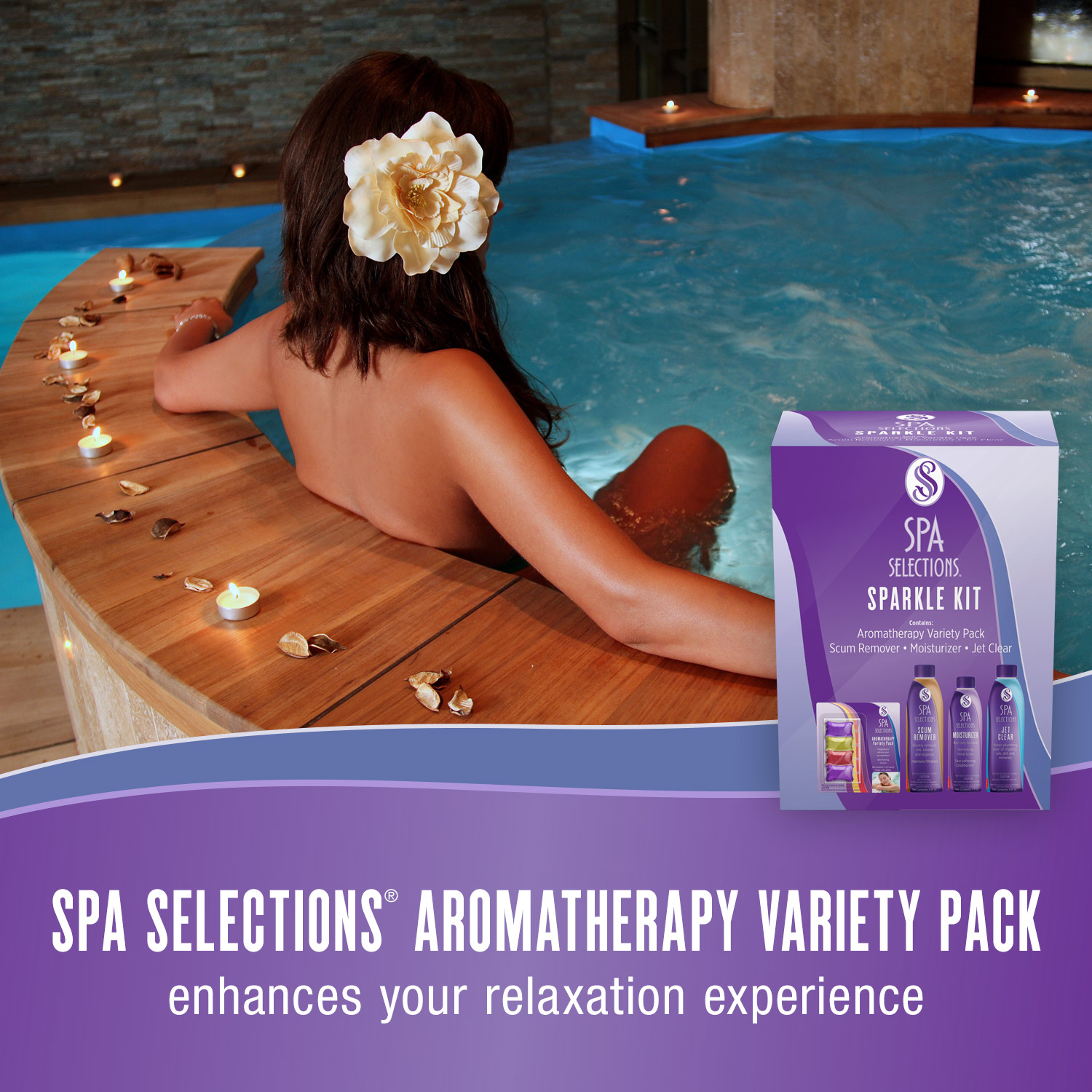 Spa Selections aromatherapy variety pack enhances your relaxation experience. Photo of woman with a flower in her hair enjoying an outdoor hot tub.