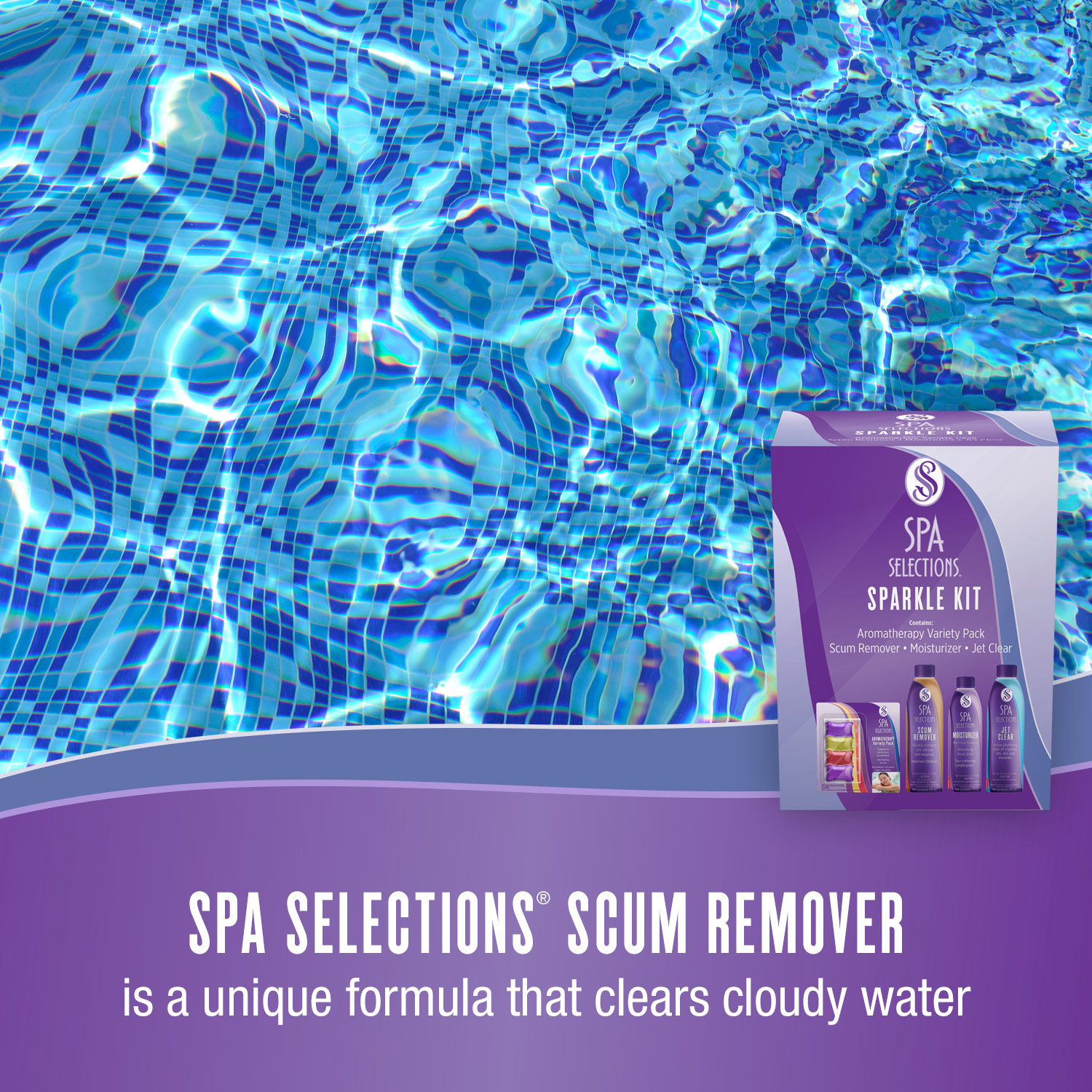 Spa Selections Scum Remover is a unique formula that clears cloudy water. Photo of crystal clear water.