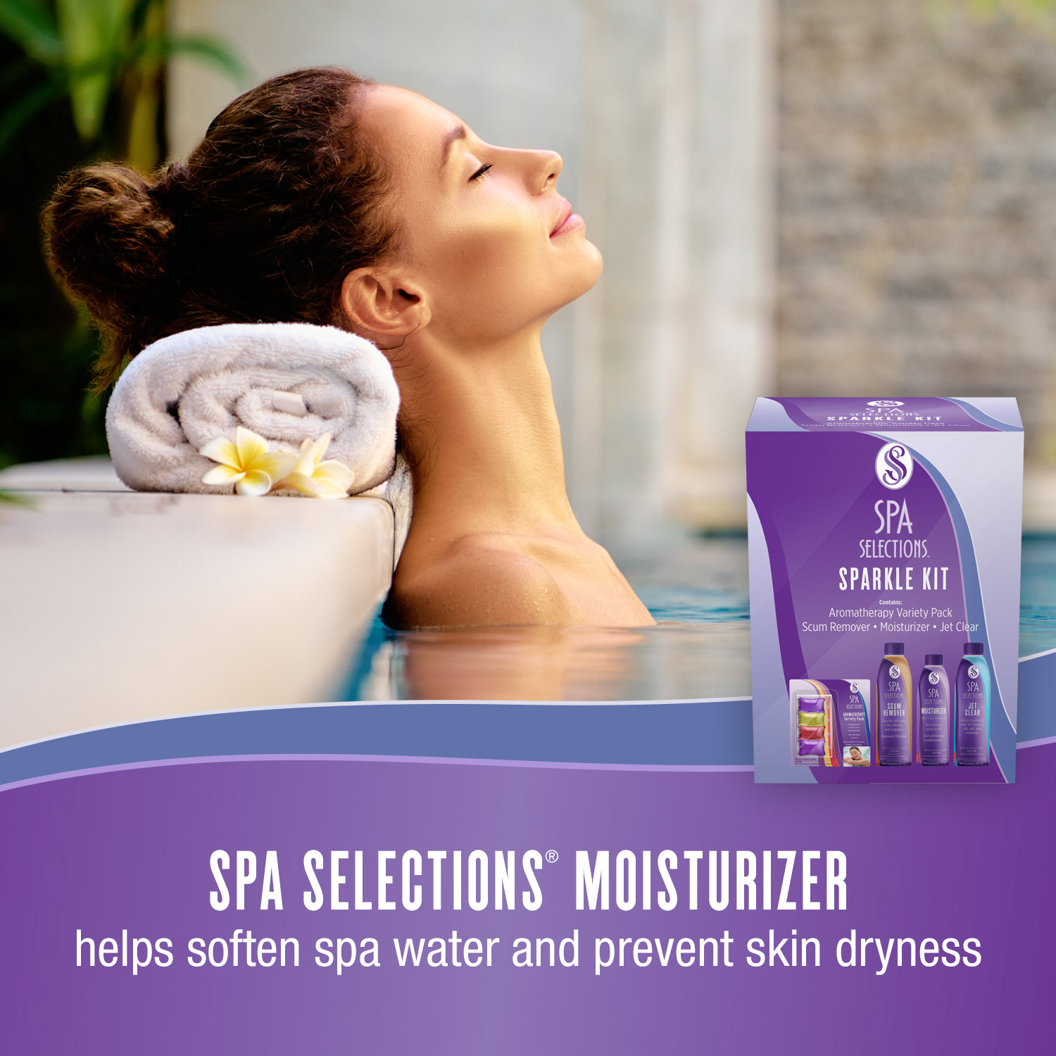 Spa Selections Moisturizer helps soften spa water and prevent skin dryness. Photo of woman relaxing in a spa.