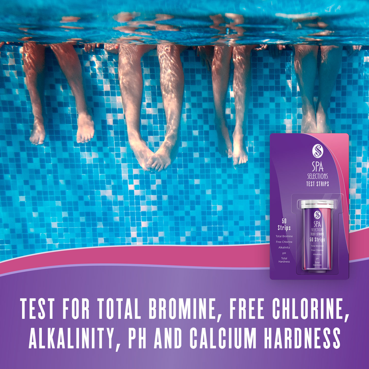 Legs in a crystal clear pool. Test for total bromine, free chlorine, alkalinity, pH and calcium hardness with Spa Selections test strips.